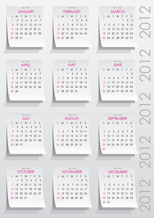 calendar grid of 2012 year on realistic paper stickers Vector