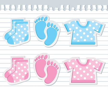 white socks: cute baby stickers on realistic paper sheet