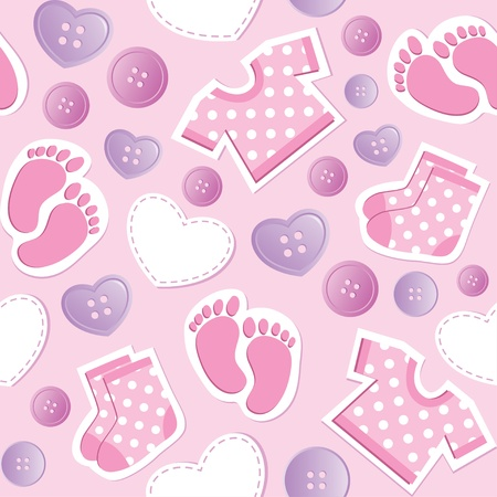 light traces: baby pink seamless pattern with patches and buttons