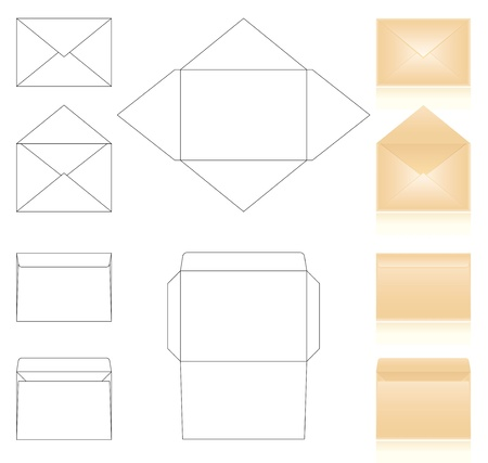 schemes: templates and schemes of envelopes. realistic beige envelopes