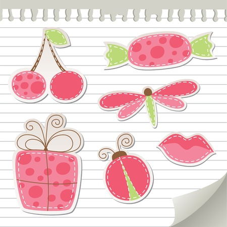 sewing box: cute pink stickers set on realistic paper