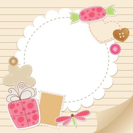 귀여움: 스크랩북 요소 귀여운 빈티지 인사말 카드