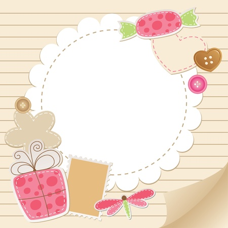 cute vintage greeting card with scrapbook elements Иллюстрация
