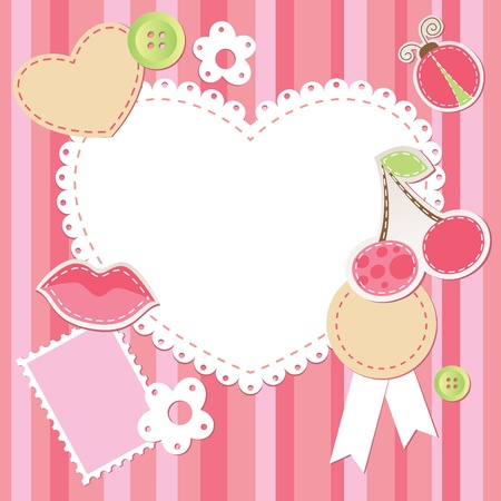 cute pink scrap set with flower, cherry, lips, ladybug and hearts Vector