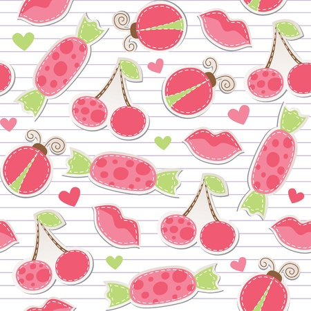 scrap booking: cute pink seamless pattern with cherries, ladybirds, lips and candies Illustration