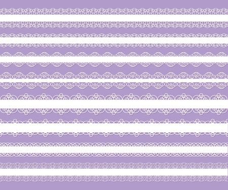 set of white elegant laces on violet background Vector