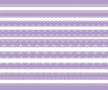 set of white elegant laces on violet background Vector