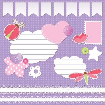 set of scrapbook elements on violet background