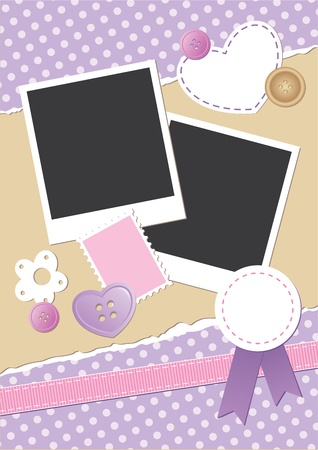 vintage frame for photos with scrapbook elements Stock Vector - 10833891