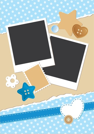 vintage frame for photos with scrapbook elements Vector