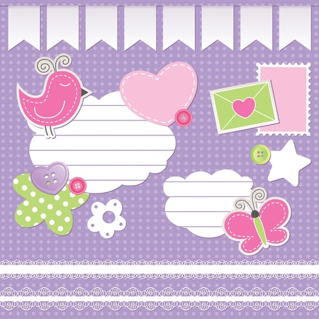 set of scrapbook elements on violet background Stock Vector - 10900728
