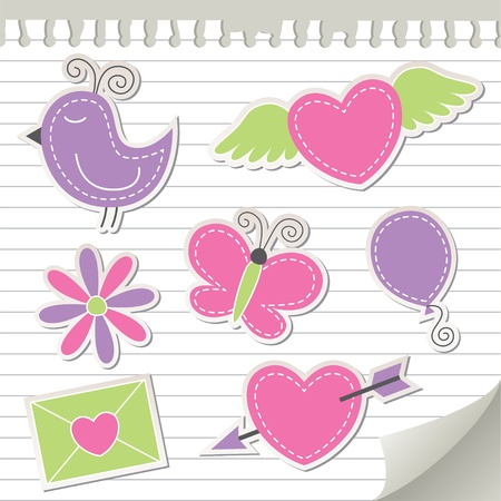 cute pink stickers set on realistic paper Stock Vector - 10900729