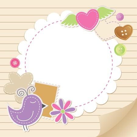 ferraille: mignon carte de cru de voeux avec des �l�ments de scrapbook