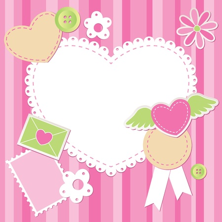 scrap booking: cute pink scrap set with flower, heart and envelope