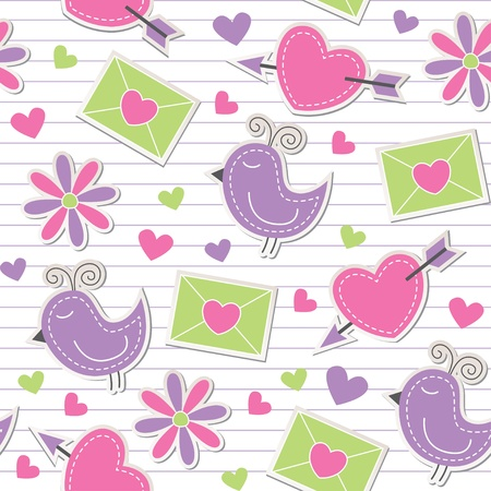 cute romantic seamless pattern with birds, flowers, hearts and envelopes Vector