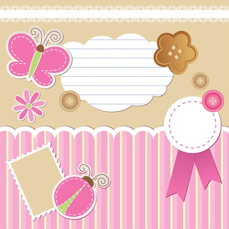 cartoon ladybug: set of scrapbook elements on beige background