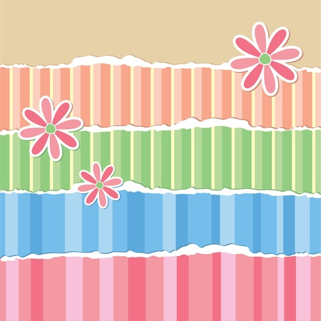 old torn wallpaper and paper flowers, scrapbook elements Vector