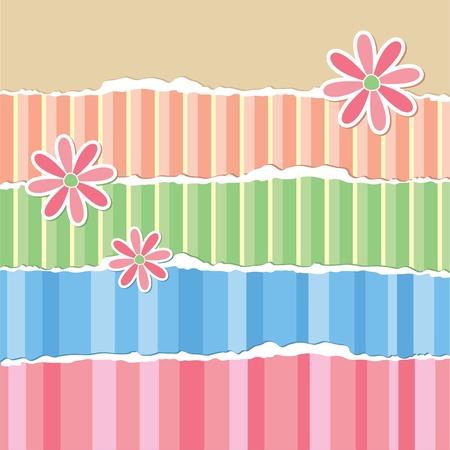 scrapbook paper: old torn wallpaper and paper flowers, scrapbook elements Illustration