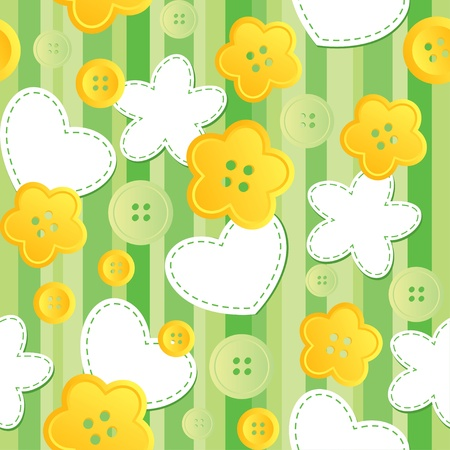 cute seamless pattern with sewing buttons and patches Vector
