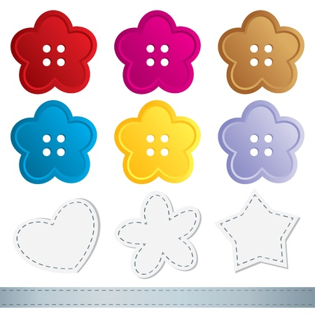 set of sewing buttons on white background Stock Vector - 10900732
