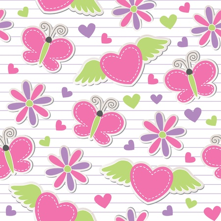 cute romantic seamless pattern with butterflies, hearts and flowers Vector