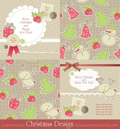christmas vintage backgrounds and cards Vector