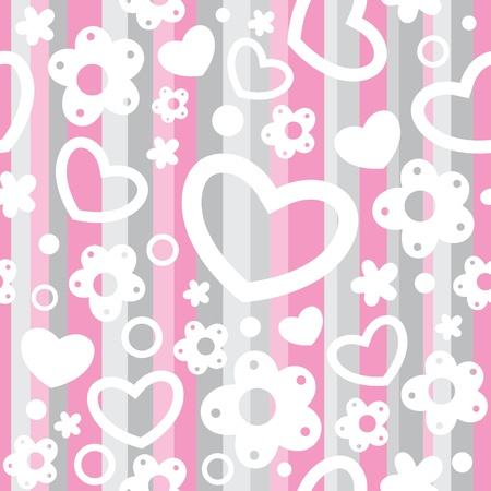 cute baby seamless pattern with hearts and flowers Vector
