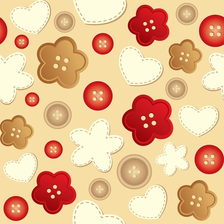 sewing buttons: seamless pattern with beige and red sewing buttons