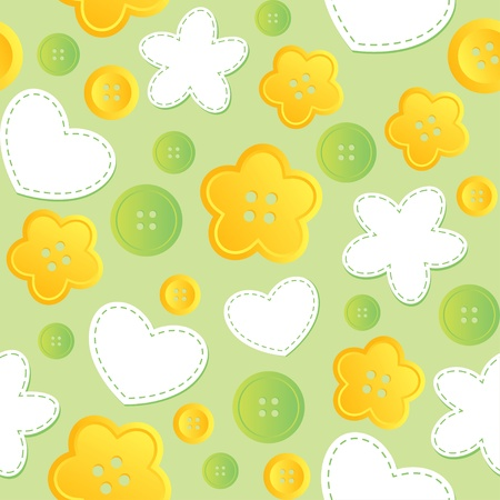 darn: cute seamless pattern with sewing buttons and patches