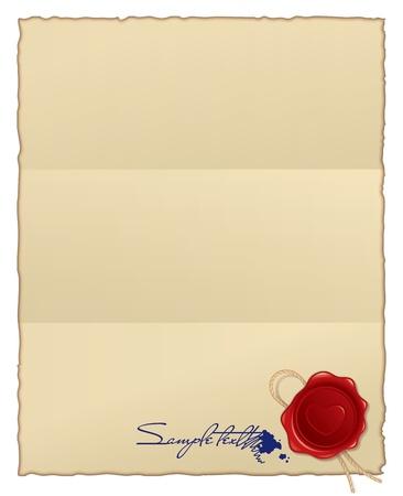 papier brul�: br�l� papier avec cachet de cire et �ponger. fond vectoriel