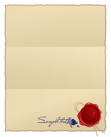 burned paper with wax seal and blot. vector background Vector