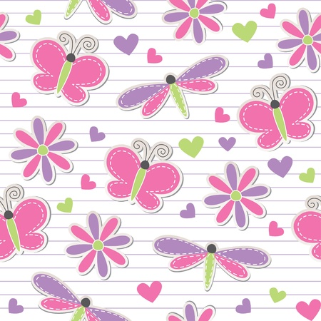 cute romantic seamless pattern with butterflies, dragonflies and flowers Vector