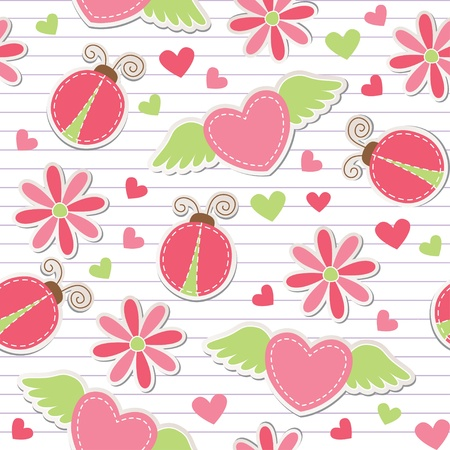 cute romantic seamless pattern with ladybugs, hearts and flowers Vector