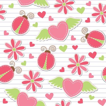 marienkäfer: niedliche romantischen nahtlose Muster mit Marienk�fer, Herzen und Blumen