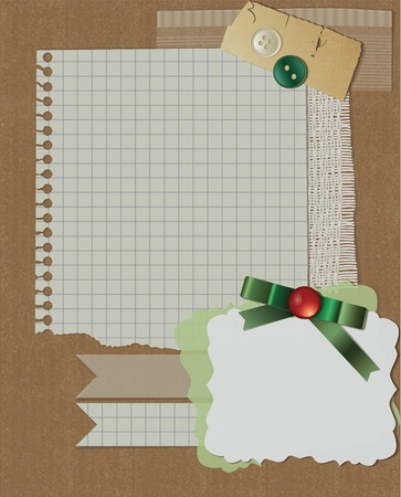 scrapbook christmas design. greeting card with green ribbon Vector
