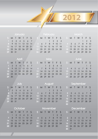 calendar 2012. gold star on a gray background Vector