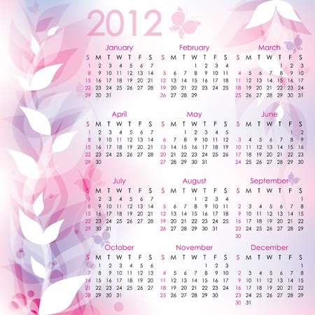 calendar 2012. pink abstract background with butterflies Vector