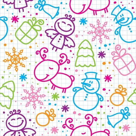christmas angels: christmas hand drawn seamless pattern with cute characters
