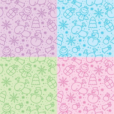 christmas hand drawn seamless patterns with cute characters Stock Vector - 11118459