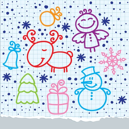 christmas hand drawn design elements on paper page Vector