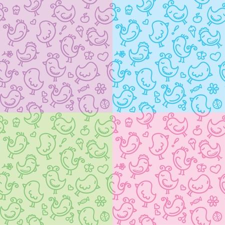 hand drawn seamless patterns with cute birds Vector