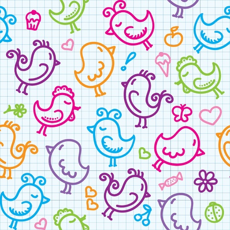 canary bird: hand drawn seamless pattern with cute birds Illustration