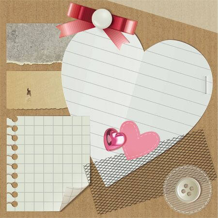 scrapbooking set with realistic romantic elements Vector