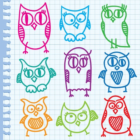 funny hand drawn owls on paper page Vector