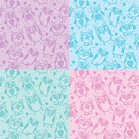hand drawn seamless patterns with funny owls photo