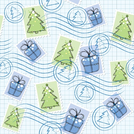 christmas seamless pattern with postage stamps and seals Vector