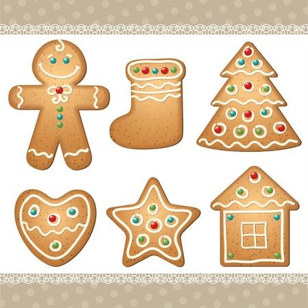 weihnachtskuchen: eingestellt von Lebkuchen, Elemente f�r die Weihnachts-Design. Lizenzfreie Bilder