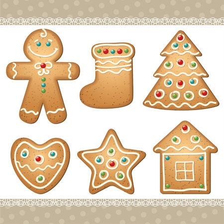 set of gingerbread, elements for christmas design. photo