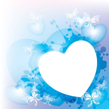 abstract background with butterflies and hearts, vector Vector