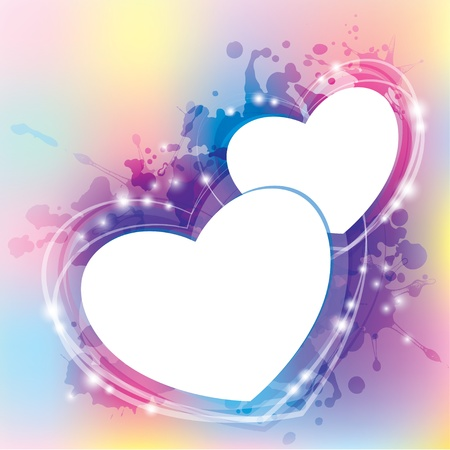 glitter heart: abstract background with hearts and blots. Illustration